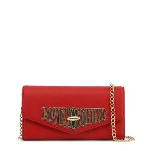 Love Moschino Red Leather Front Flap Clutch Bag